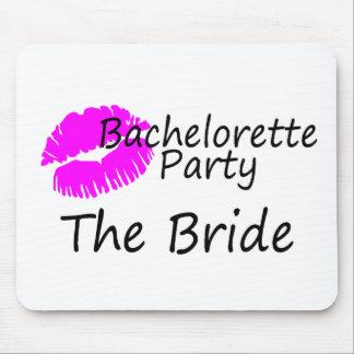 Bachelorette Party The Bride Pink Kiss Mouse Pad