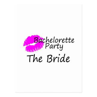 Bachelorette Party The Bride Pink Kiss Postcard