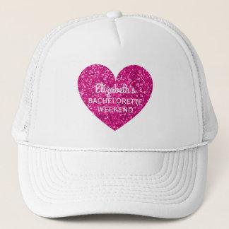 Bachelorette Party Weekend | Glitter Pink Heart Trucker Hat