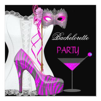 Bachelorette Party White Corset Pink Zebra Shoes Card