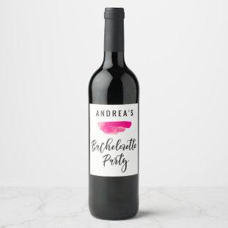 Bachelorette Party Wine Label Pink Watercolor