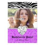 Bachelorette Party Zebra Pearls Lace Heart Purple Personalized Invitation
