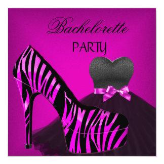 Bachelorette Party Zebra Pink Black Dress 13 Cm X 13 Cm Square Invitation Card