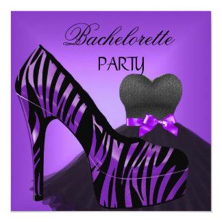 Bachelorette Party Zebra Purple Black Dress 13 Cm X 13 Cm Square Invitation Card