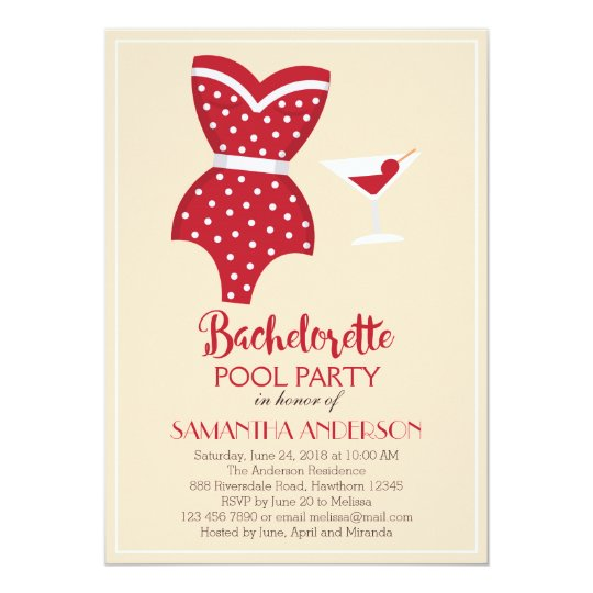 Bachelorette Pool Party Invitation, Beach party Card
