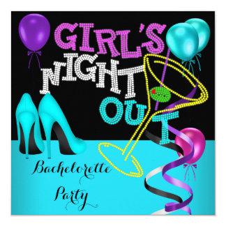 Bachelorette Teal Pink Black Purple Hi Heels Party Card