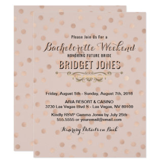 Bachelorette Weekend Itinerary Rose Gold Confetti Card