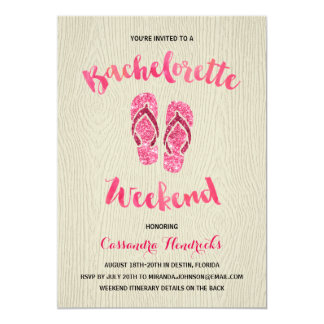 Bachelorette Weekend with Pink Faux Glitter 13 Cm X 18 Cm Invitation Card