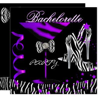 Bachelorette Zebra Purple Cocktail Card