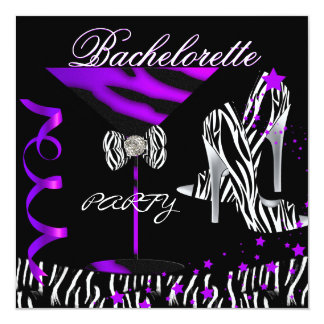 Bachelorette Zebra Purple Cocktail Card