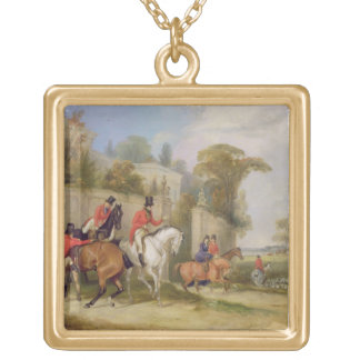 Bachelor's Hall, The Meet, 1835 (oil on canvas) Gold Plated Necklace