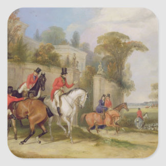 Bachelor's Hall, The Meet, 1835 (oil on canvas) Square Sticker