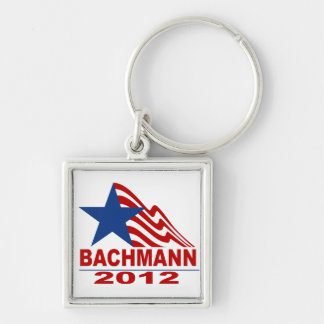Bachmann for President 2012 Silver-Colored Square Key Ring