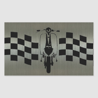 Back and silver check  scooter Rectangle Stickers