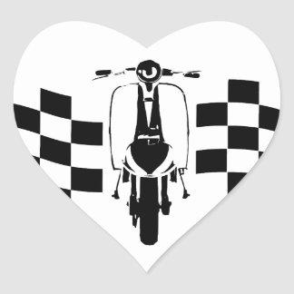 Back and white check flag scooter heart stickers