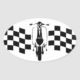 Back and white check flag scooter Oval stickers