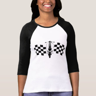 Back and white check flag scooter t-shirt