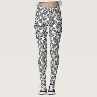 Back and White Knitted Style Pattern Leggings