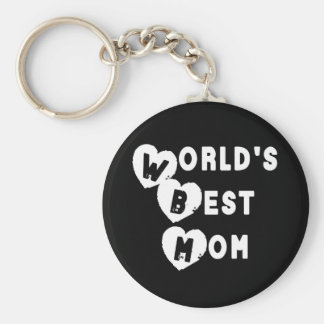 Back and White World's Best Mom Hearts Keychain
