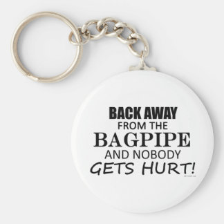 Back Away From The Bagpipe Basic Round Button Key Ring