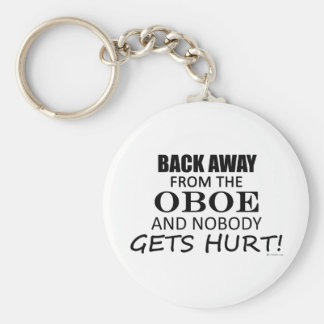 Back Away From The Oboe Basic Round Button Key Ring