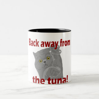 Back Away From Tuna Cat Two-Tone Coffee Mug