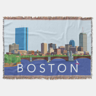 Back Bay Boston Skyline Computer Illustration Throw Blanket