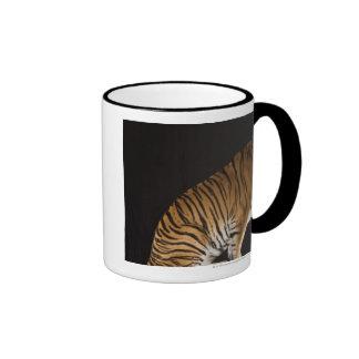 Back end of tiger sitting on platform ringer coffee mug