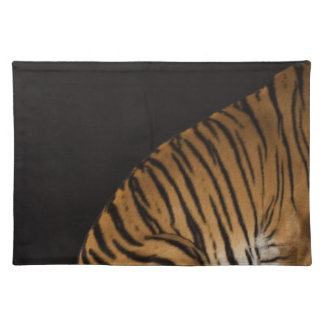 Back end of tiger sitting on platform placemat