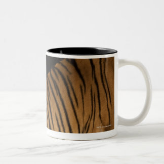 Back end of tiger sitting on platform Two-Tone coffee mug