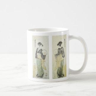 Back & Front View of Beauty Ohisa, Utamaro, 1792 Basic White Mug