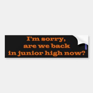 Back in Junior High Bumper Sticker