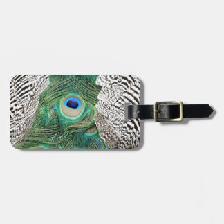 Back Of A Peacock Os om Colors Luggage Tag