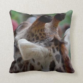 back of giraffe head animal image throw pillow