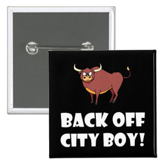 Back Off City Boy 15 Cm Square Badge