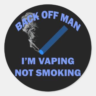 BACK OFF MAN I'M VAPING, NOT SMOKING CLASSIC ROUND STICKER
