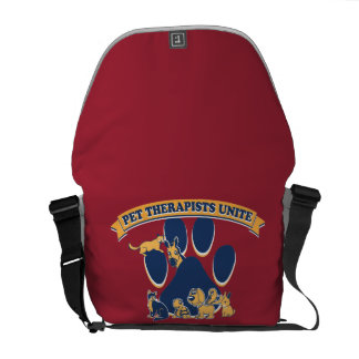 back pack promoting pet therapy for PTSD Messenger Bags