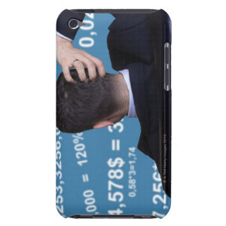Back portrait of a businessman confused with barely there iPod case