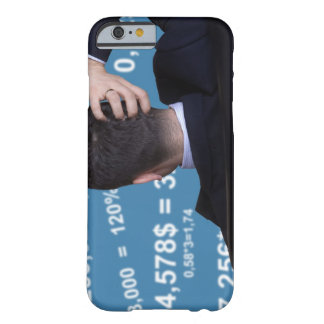 Back portrait of a businessman confused with barely there iPhone 6 case