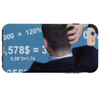 Back portrait of a businessman confused with tough iPhone 6 plus case