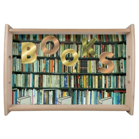 Back school bookshelf serving tray
