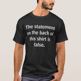 Back:Statement on the front of this shirt is true.