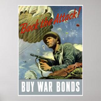 Back The Attack -- Buy War Bonds -- Border Poster