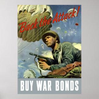 Back The Attack -- Buy War Bonds Poster