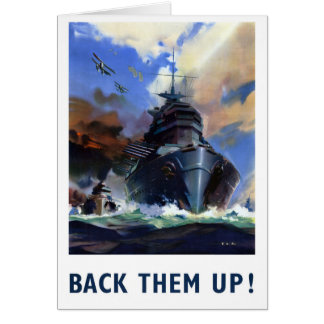 Back them up Vintage Military Poster Card