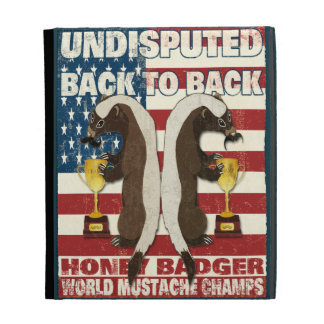 Back to Back Honey Badger World Mustache Champs iPad Folio Cover