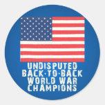 Back to Back World War Champions Round Sticker