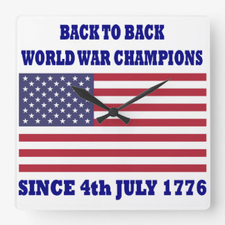 back to back world war champions square wall clock
