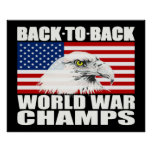 Back To Back World War Champs Eagle Poster - Large