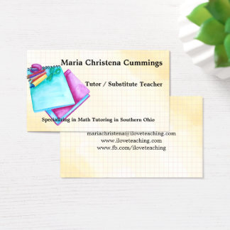 Back To Basics Watercolor Education Business Card